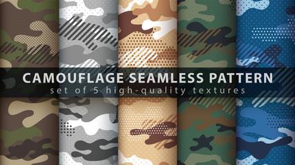 Fototapeta Set camouflage military seamless pattern
