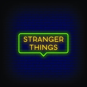 Stranger Things Neon Signs Style Text Vector