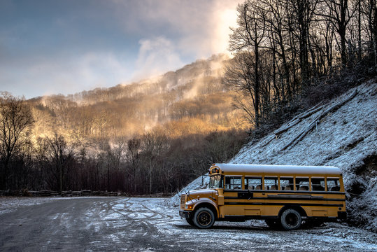 Bus in the mountain
