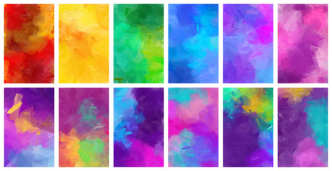 Fotobehang - Big bundle set of vector colorful watercolor backgrounds for poster, brochure or flyer