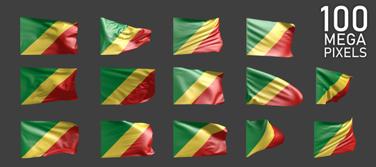 Congo flag isolated - various images of the waving flag on grey background - object 3D illustration