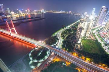 Aluminium Prints Shanghai named bayi bridge in the night of shanghai china