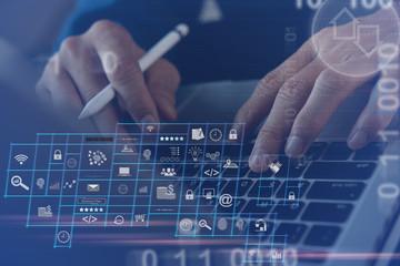 Wall Mural - Digital software technology, application development