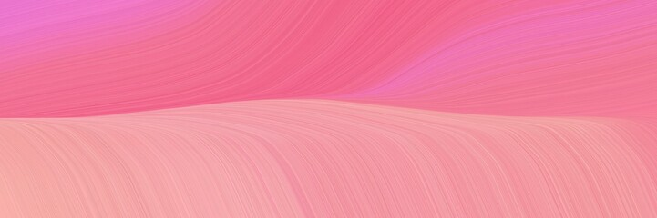 Deurstickers Candy roze dynamic horizontal header with light coral, pale violet red and pastel magenta colors. dynamic curved lines with fluid flowing waves and curves