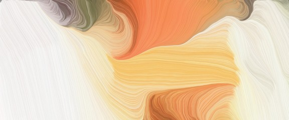 colorful horizontal header with antique white, peru and burly wood colors. very dynamic curved lines with fluid flowing waves and curves Fotomurales