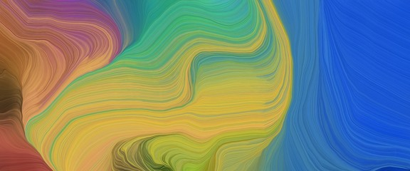Fotobehang Fractal waves dynamic designed horizontal banner with dark khaki, peru and strong blue colors. very dynamic curved lines with fluid flowing waves and curves