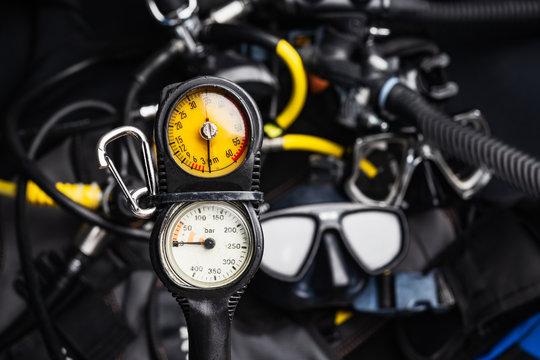 pressure regulator  , console diving regulator with Scuba Diving Gear background