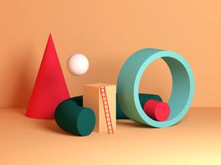 Fototapeta Abstract colorful still life installation, primitive geometric shapes obraz