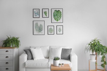 Beautiful paintings of tropical leaves over sofa in living room interior