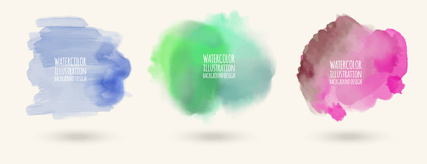 Hand painted watercolor elements set. Vector illustration eps 10