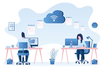 Exchanging files. Two modern workplace, businesspeople upload and download documents Wall mural