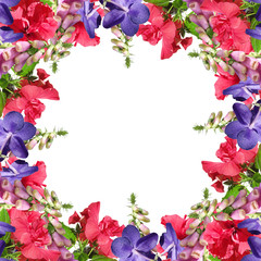 Wall Mural - Beautiful floral pattern of Chinese rose, Foxglove and Wanda Orchid. Isolated