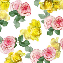Wall Mural - Beautiful floral background of yellow begonia and pink roses. Isolated