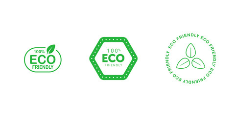 Set of various eco friendly 100 percent green badges with tree leaf. Design element for packaging design and promotional material. Vector illustration.
