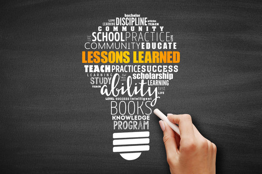 Lessons Learned light bulb word cloud collage, education concept background