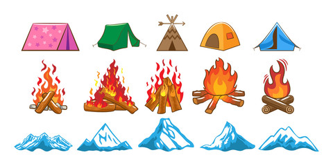 camping vector set collection graphic clipart design