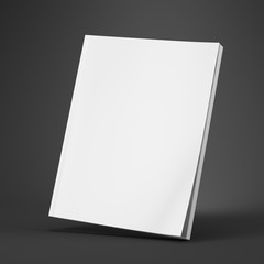 Blank White Cover Of Magazine on gray background. Mock Up Template of magazine, book, brochure, booklet. 3d rendering