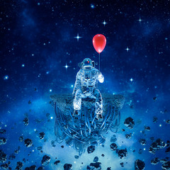 Party of one / 3D illustration of surreal science fiction scene with astronaut sitting on artificial asteroid holding red balloon in outer space