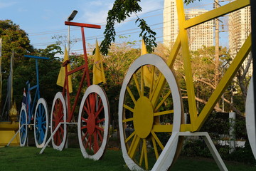 Aluminium Prints Bicycle The park decorations are bicycles