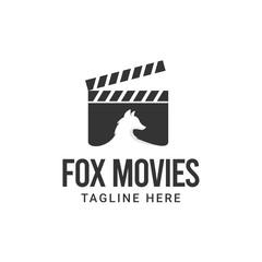 Fox film maker logo design. Film strip with fox vector illustration for movie studio production graphic template.