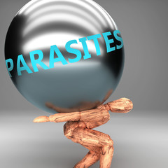 Parasites as a burden and weight on shoulders - symbolized by word Parasites on a steel ball to show negative aspect of Parasites, 3d illustration