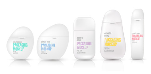 Package mockup. 3D bottle template of plastic container for liquid, skin care, foams, shampoo, shower, lotion. Tube for cosmetic brand and product with unique packaging design.