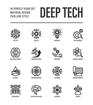 Deep tech thin line icons set. Symbols of ai, innovation, intellectual property, scientific discovery, investment,  quantum computing, photonics, blockchain, robotics. Vector illustration.