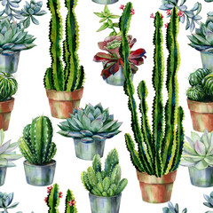 Cacti seamless pattern watercolor. Cactus illustration. Use as print, home or garden decoration, wrapping paper, textile or wallpa