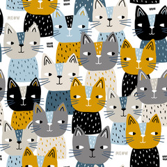 Semless trendy pattern with cute cats. Scandinaviann style childish texture for fabric, textile, apparel, nursery decoration. Vector illustration