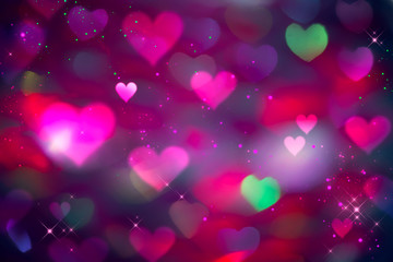 Valentine's Day Background. Holiday Blinking Abstract Valentine Backdrop with Glowing colourful Hearts. Heart Shape Bokeh. Love concept. Colorful Art design
