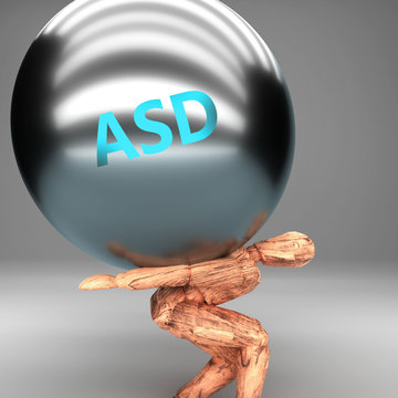 Asd as a burden and weight on shoulders - symbolized by word Asd on a steel ball to show negative aspect of Asd, 3d illustration
