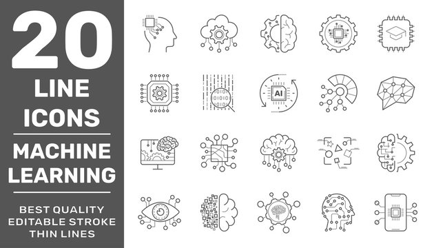 Modern thin line icons set of modern technology: machine learning and artificial intelligent. Premium quality outline symbol collection. Editable Stroke. EPS 10