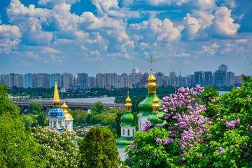 Printed roller blinds Kiev Vydubychi Monastery complex at springtime, Kyiv, Ukraine