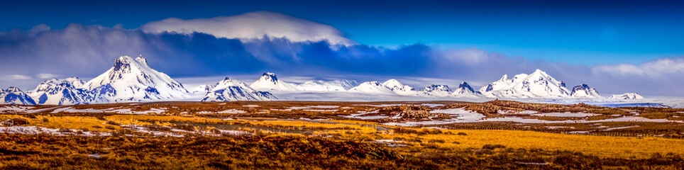 Gullfoss mountain range in Iceland