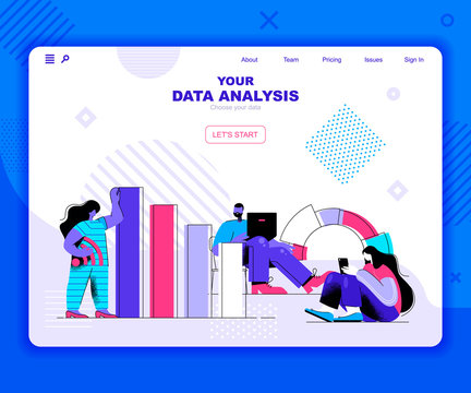 Data analysis landing page vector template. Information chart and graph website header UI layout with flat illustration. Accounting report, financial presentation web banner flat concept