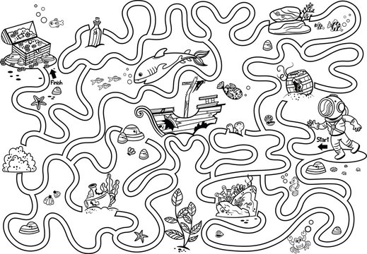 Help the diver to reach the  treasure chest. Black and white maze game for kids. Vector illustration.