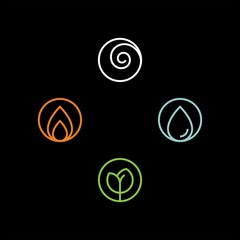 4 elements flat vector icons. Water, fire, earth, air flat vector icons