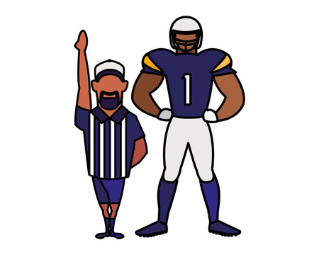 referee and player american football on white background