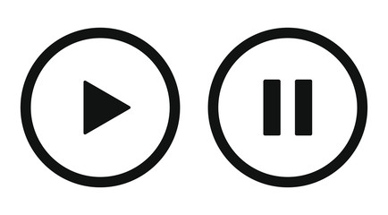 Play and pause icon symbol set. Simple flat shape button. Web and phone application audio or video control buttons. Black silhouette isolated on white background. Vector illustration image.