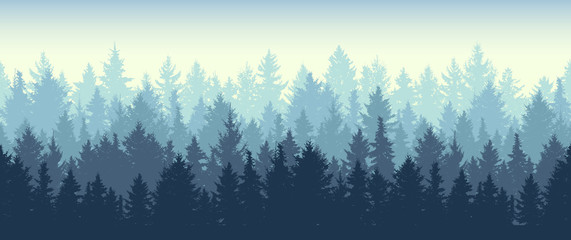 Foto op Canvas Kunstmatig Seamless coniferous winter forest background. Nature, landscape. Pine, spruce, christmas tree. Fog evergreen coniferous trees. Silhouette vector illustration
