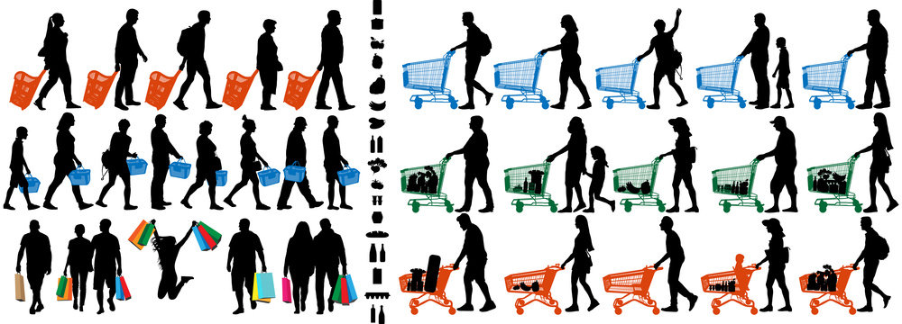 Shopper silhouette. People with shopping carts and grocery baskets. Vector silhouette set