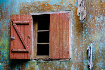 Weathered window at a hut in the Ambre Mountain National Park near Joffre Ville, Madagascar