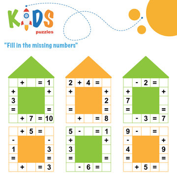 Fill in the missing numbers. Easy colorful math crossword puzzles for preschool, elementary and middle school kids.