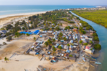 Aerial view of beach side Nosy Kely in Morondava, Madagascar
