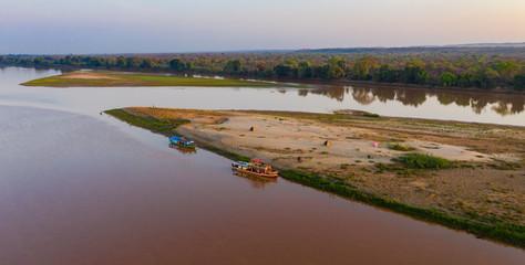 Chaland boat on the Tsiribihinha River near Begidro, Madagascar