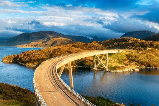 Sunlight bathing the Kylesku Bridge
