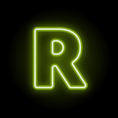Green neon letter R with glow on black background. Blur effect is made with mesh. Vector illustration