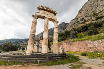 Delphi, Greece. The Tholos of Delphi, a circular temple and one of the ancient structures of the Sanctuary of Athena Pronaia
