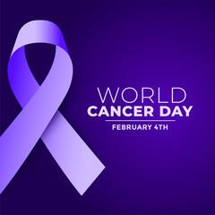 world cancer day purple realistic ribbon concept design