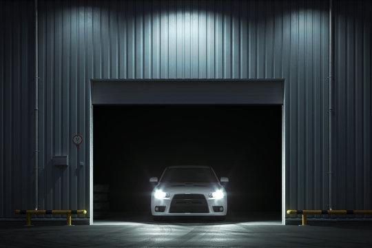 Car in the garage with roller shutter door. 3d render